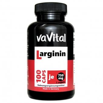 L-ARGININ 750mg je Kapsel | 100 Kapseln | 100% Vegan |