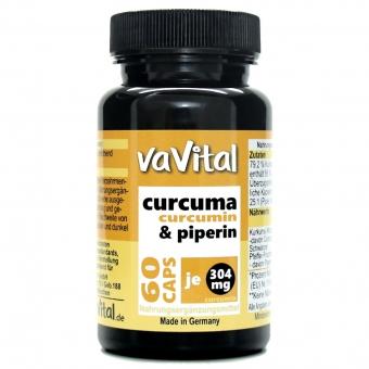 Curcuma-CURCUMIN 304 mg + Piperin | 60 Kapseln | 100% Vegan |