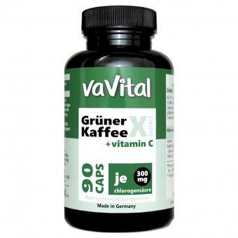 Grüner Kaffee-Extrakt, CHLOROGENSÄURE 300mg+Vitamin C | 90Kapseln | 100%Vegan |
