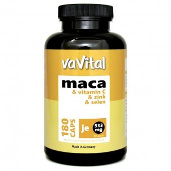 MACA 533 mg je Kapsel + Vitamin C + Zink + Selen | 180 Kapseln | 100%Vegan |