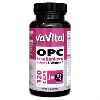 OPC 125 mg je Kapsel, Traubenkernextrakt +Vitamin C | 120 Kapseln | 100%Vegan
